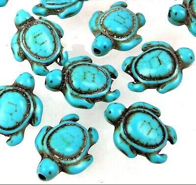 18x14mm Blue Turquoise Turtle Beads (12) (Turquoise Beads)