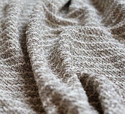 Grey cream & silver lurex marl stripe bouclé cotton jersey knitted fabric, Per M