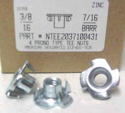 38-16 T-nuts 716 Barrel 4 Prong Steel Zinc Plated 20