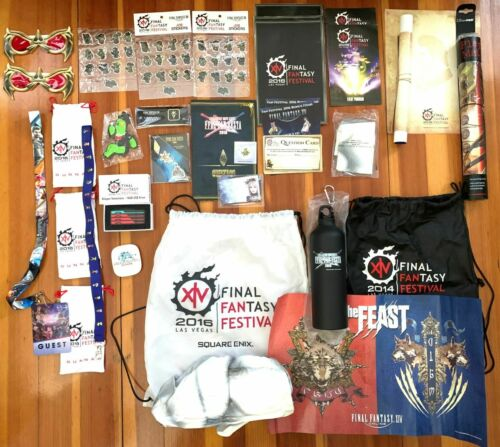 Final Fantasy Fan Festa XIV Booklet Bag Magnet Stickers USB Drive FFVII Cloud FF