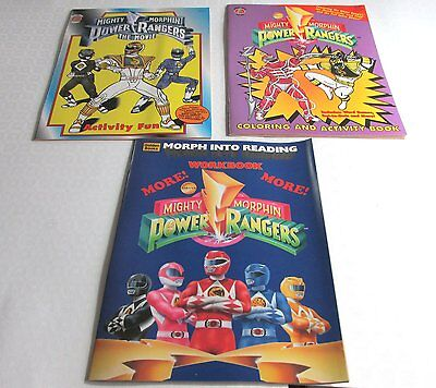 3 different 1990s Mighty Morphin Power Rangers Coloring Activity Books, New NOS