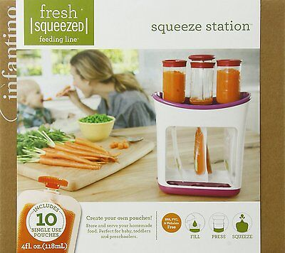 Infantino Squeeze Station for Fresh Baby Puree Food + 3 tubes 1 press 10 pouches