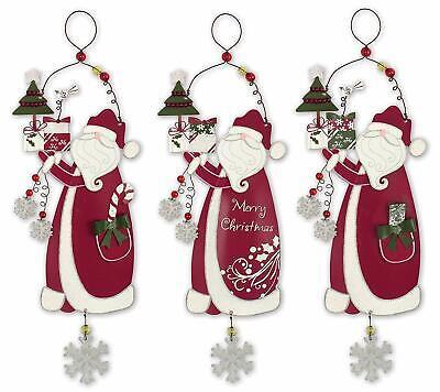 Festive Santa Christmas Tree Ornament (Set of 3)