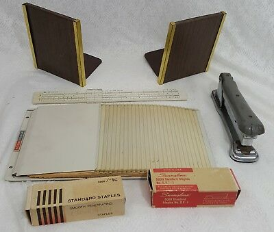 Lot Vintage Office Organization Supplies Industrial File Bookends Stapler Ruler
