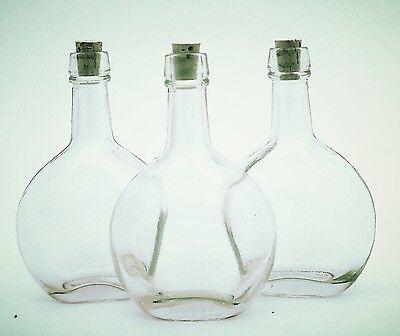 - 6 New Flask, Perfume Glass 3.75oz Bottle W/Cork 4.75 inch Tall 3 inch Round 1.5