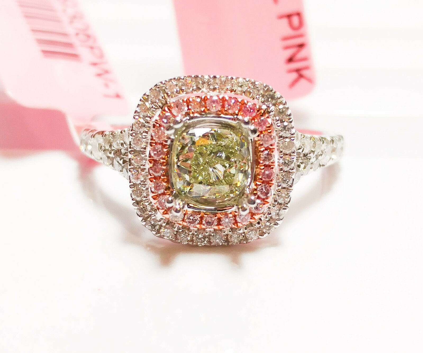 1.02ct Fancy Green & Intense Pink Diamond Engagement Ring GIA 18K White Gold VS2