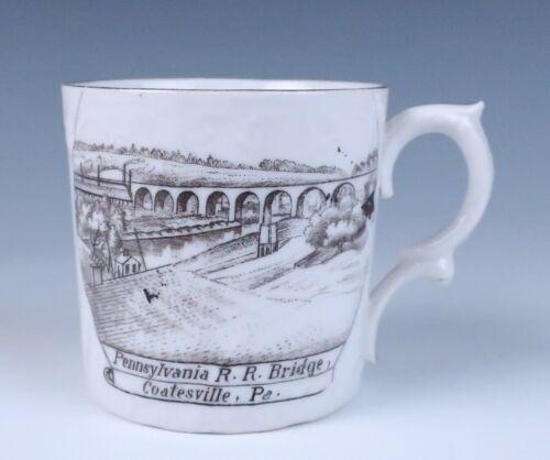 Antique Pennsylvania Railroad Bridge Souvenir Cup Coatesville PA Porcelain PRR