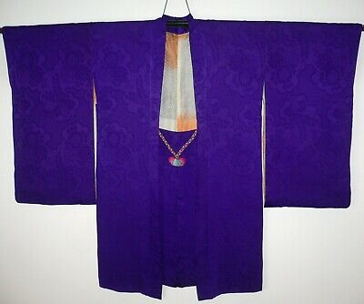 Lovely 1920s Authentic Vintage Japanese Purple Figured Silk Haori Kimono Jacket
