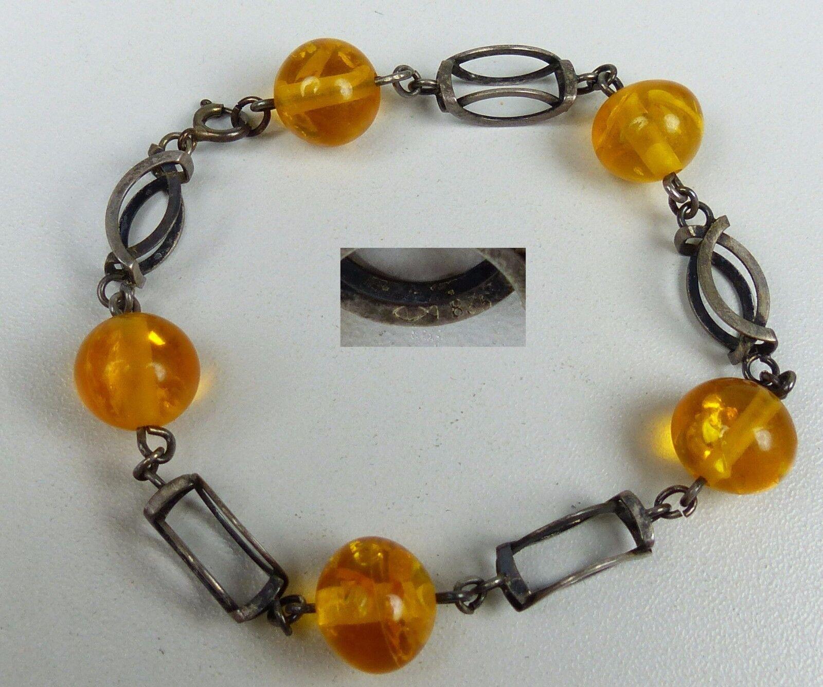 Armband aus 835er Silber mit BernsteinAmberImitat (da4963)