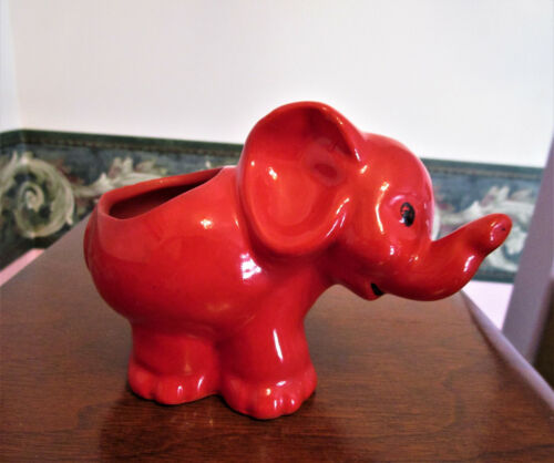 Vintage Small Red Elephant Planter/Flower Pot