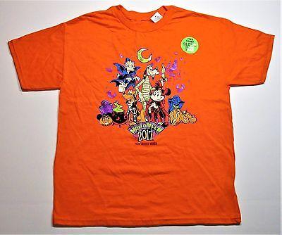 Disney World Mickey & Fab 4 2017 Halloween Glow In Dark T Shirt Youth Sz Medium - Halloween In Public