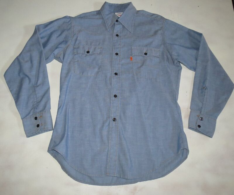 Vintage Levis Orange Tab Mens Large Shirt Blue Denim Thin Western Chambray