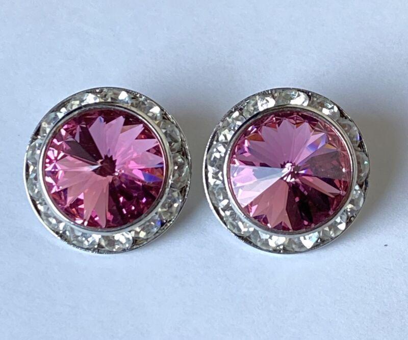 Vintage Pink Rivoli Crystal & Rhinestones Silver Tone Clip On Earrings