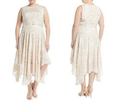 NWT Calvin Klein 20W Ivory Cheetah Print Silky Belted Handkerchief Dress
