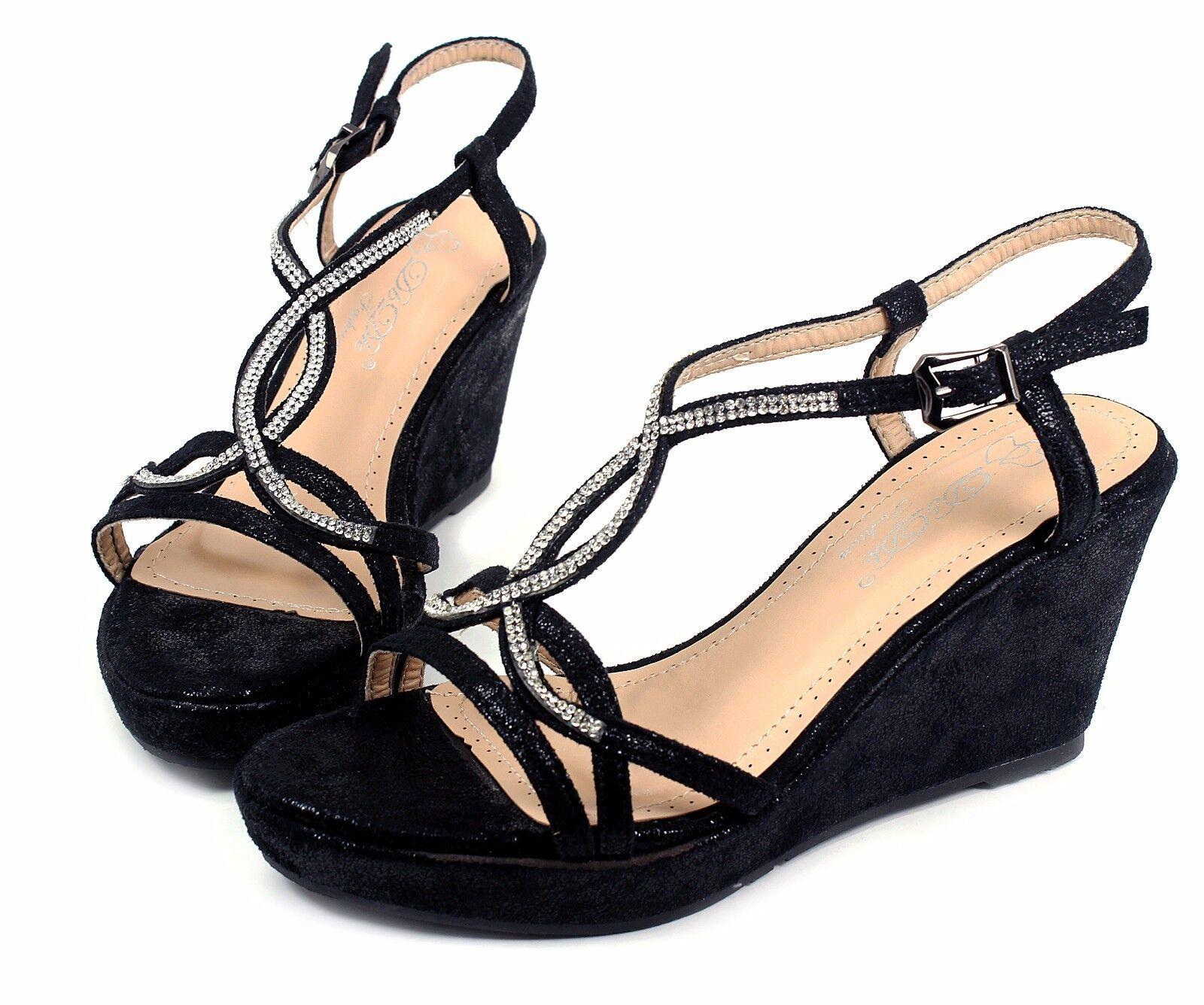 """MARIVE-5 New Wedges Party Prom 3.2"""" inch High Heel 1"""" Platfo"""