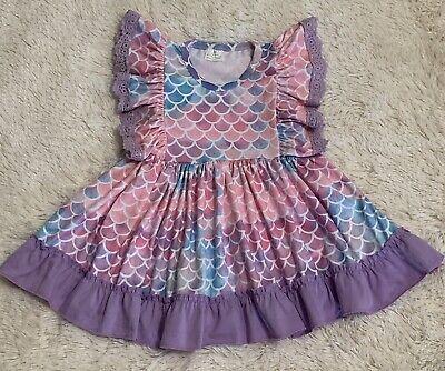 New MERMAID Boutique Dress 3T Toddler 3 Birthday Party Summer Beach Purple Pink - 3t Birthday Dress