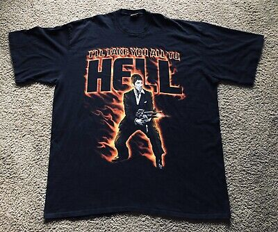 VTG Scarface Clothing Co Tony Montana T-Shirt Mens 6XL I'LL TAKE YOU ALL TO HELL