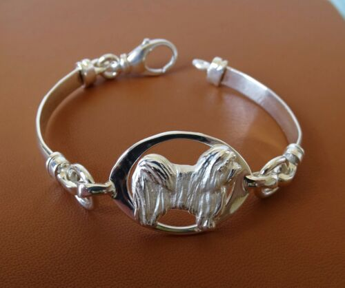 Small Sterling Silver Havanese Standing Study Soft Bangle Bracelet