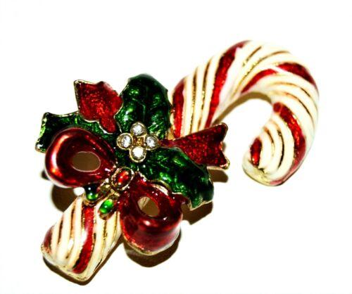 Vintage Candy Cane Enamel Rhinestone Brooch JL
