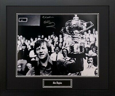 FRAMED ALEX HURRICANE HIGGINS RARE SIGNED SNOOKER PHOTOGRAPH WITH PROOF and COA