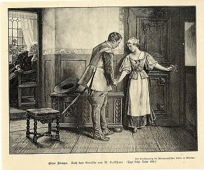 M.Volkhart ( Eine Frage ) Graphik Holzstich um 1900