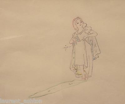 RARE DISNEY SNOW WHITE PRODUCTION DRAWING CEL SERICEL