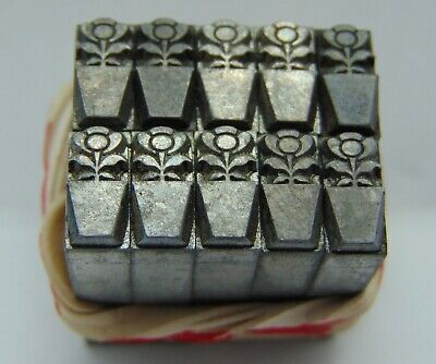 Printing Letterpress Printers Block Flower In Pot Lot Of 10