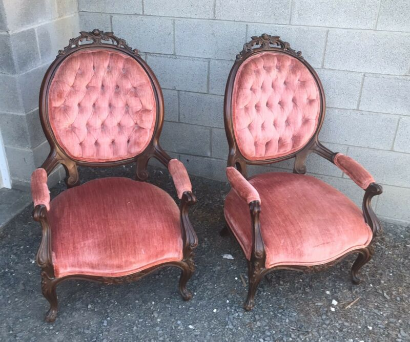 PAIR OF VICTORIAN WALNUT ARM CHAIRS