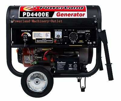PowerLand PD4400E Portable 4400 Watt 7.5HP Gas Generator-Electric/Recoil Start