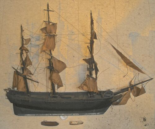 ANTIQUE  FOLK ART 3 MASTED SHIP MID TO LATE 19TH CENTURY