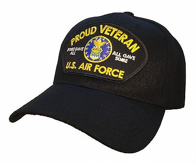 U.S. Air Force Veteran Hat Black Ball Cap PROUD VETERAN SERIES Some Gave All...