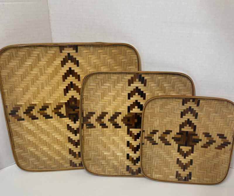"BOHO Wall Basket Decor set of 3. 8"", 10"" & 12"""