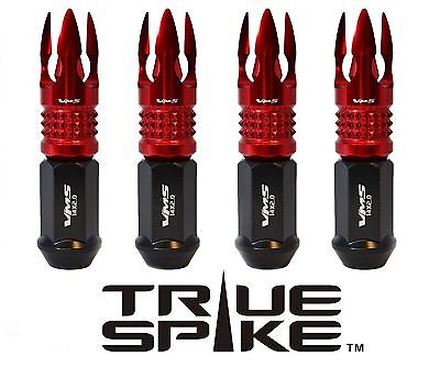 24 TRUE SPIKE 14X2.0 89MM FORGED STEEL LUG NUTS W/ RED POSEIDON SPIKE TIPS