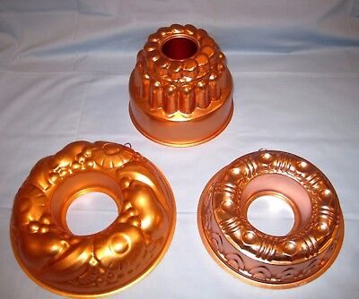 VTG Lot 3 Copper Ring Cake Jello Baking Molds Fruits Pattern/Shapes/Tall 3 Tier