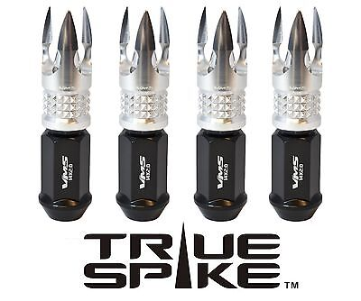 20 TRUE SPIKE 14X2.0 89MM FORGED STEEL LUG NUTS W/ SILVER POSEIDON SPIKE TIPS