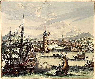 17c View Of Port Havana Cuba Szenerie Antik Panorama Farbe Landkarte Plan Poster