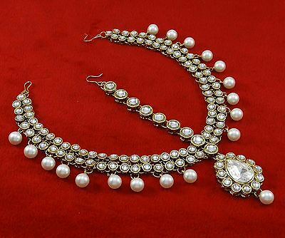 Traditional Kundan Maang Tikka Goldtone Bollywood Wedding Matha Patti Jewelry