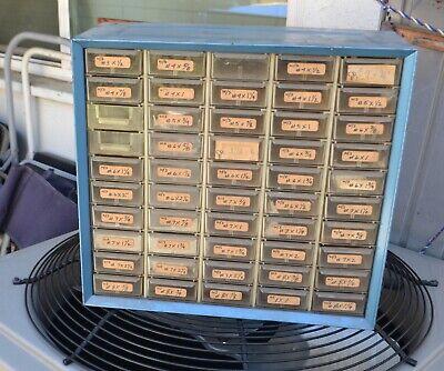 Vintage Metal 50 Drawer Nutbolt Small Parts Storage Cabinet Bin Organizer