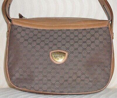 Gucci vintage handbag, fabric and leather, brown and tan