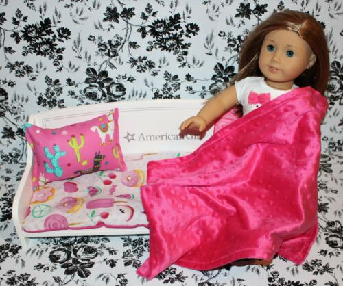 """3 Piece Pink Sweet Treat LLama Blanket Pillow Bed Set for American Girl 18"""" Doll"""