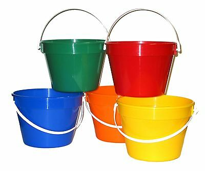 5 1 Gallon Buckets, Red, Blue, Orange, Green, Yellow  Mfg. USA Lead Free No Bpa