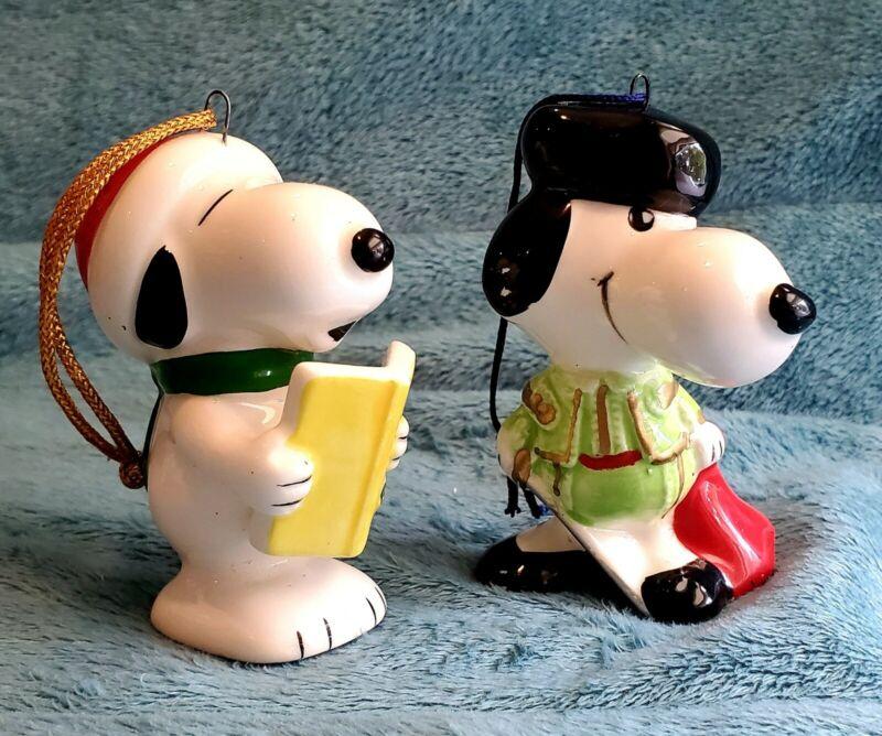 2 Vintage 1966 Snoopy Ornaments Christmas Matador Caroler Peanuts Ceramic Japan