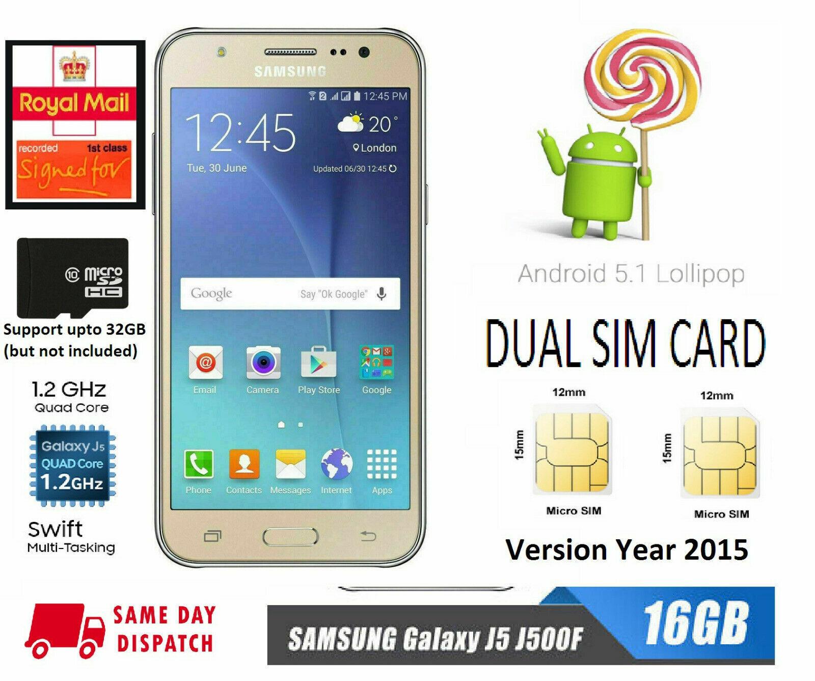 Android Phone - Boxed 4G 16GB Dual SIM Samsung Galaxy J5 J500F SIM Unlock Android Smart Phone UK