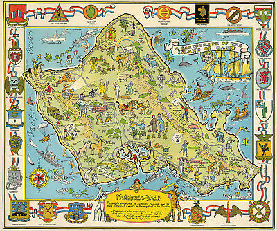 Military Cartograph of the Island of Oahu Hawaii Armed Forces Units Wall Poster