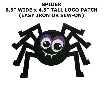 Black Spider Tattoo Biker Cartoon Halloween Logo Applique Iron on Patch Sew (Cartoon Halloween Spider)