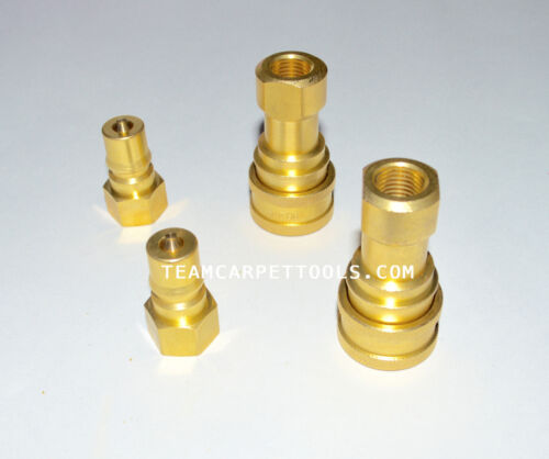 """1/4"""" Male & Female Quick Disconnects (QD) Carpet Cleaning (2 sets) All Brass"""
