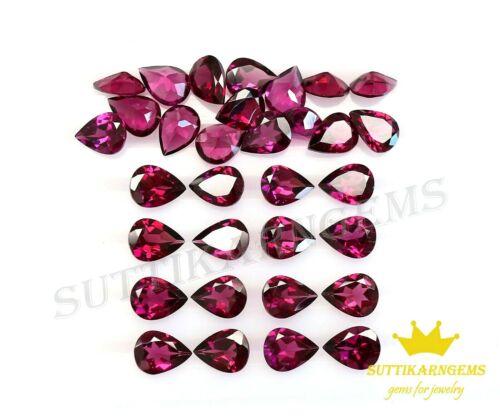 8x6 MM Natural Rhodolite Garnet Pear Cut Loose Gemstone Lot , AAA+ Quality