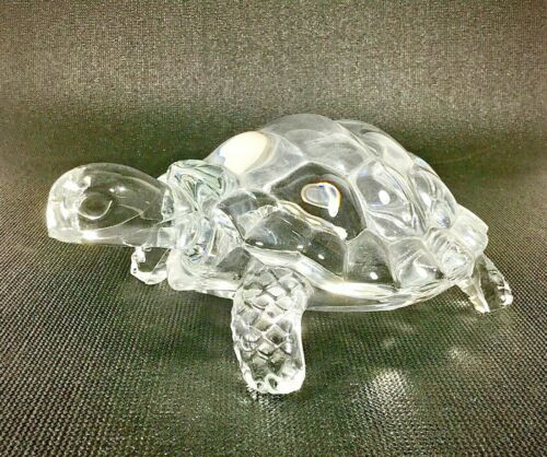 "Glass Decorative Turtle Display Figurine - 7.5"" Length"
