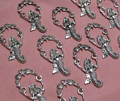 10 SILVER METAL MERMAID HOLDING SHELL GARLAND PENDANTS-CHARMS-FINDINGS-SUPPLIES