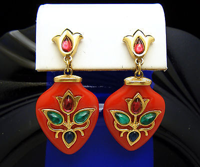 Scarce Crown Trifari Persian Garden Red Lucite Dangle Earrings Glass Cabochons on Lookza